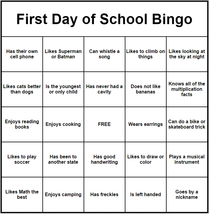 First Day of School Bingo